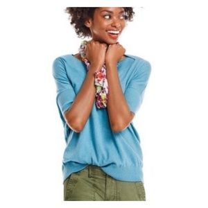 CAbi #5007 Knit Top Lounge Short Sleeve Blue